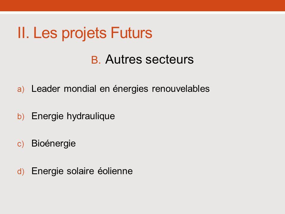 II. Les projets Futurs B. Autres secteurs a) Leader mondial en énergies renouvelables b) Energie hydraulique c) Bioénergie d) Energie solaire éolienne