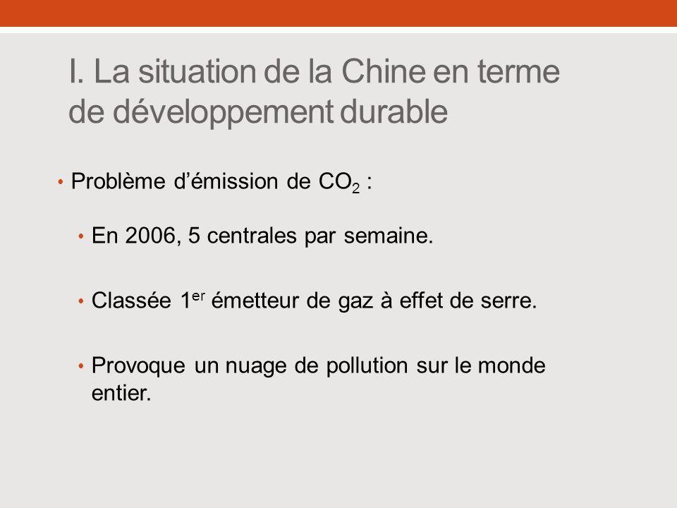 I. La situation de la Chine en terme de développement durable Problème démission de CO 2 : En 2006, 5 centrales par semaine. Classée 1 er émetteur de
