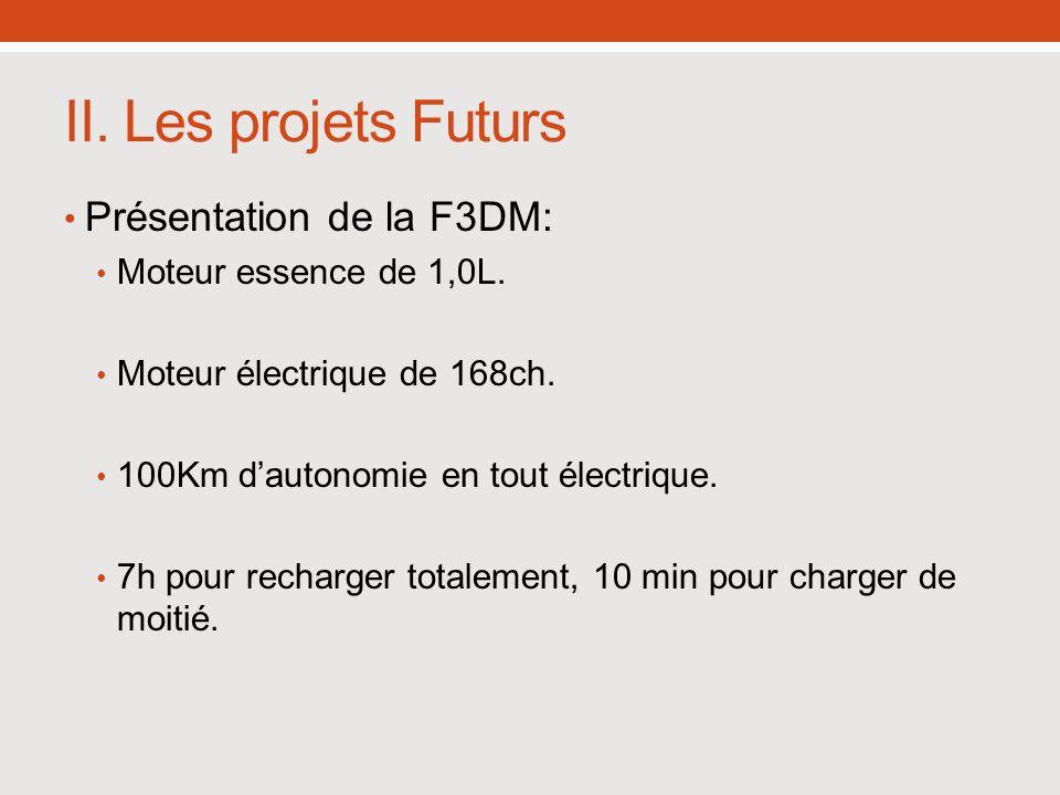 II. Les projets Futurs Présentation de la F3DM: Moteur essence de 1,0L. Moteur électrique de 168ch. 100Km dautonomie en tout électrique. 7h pour recha