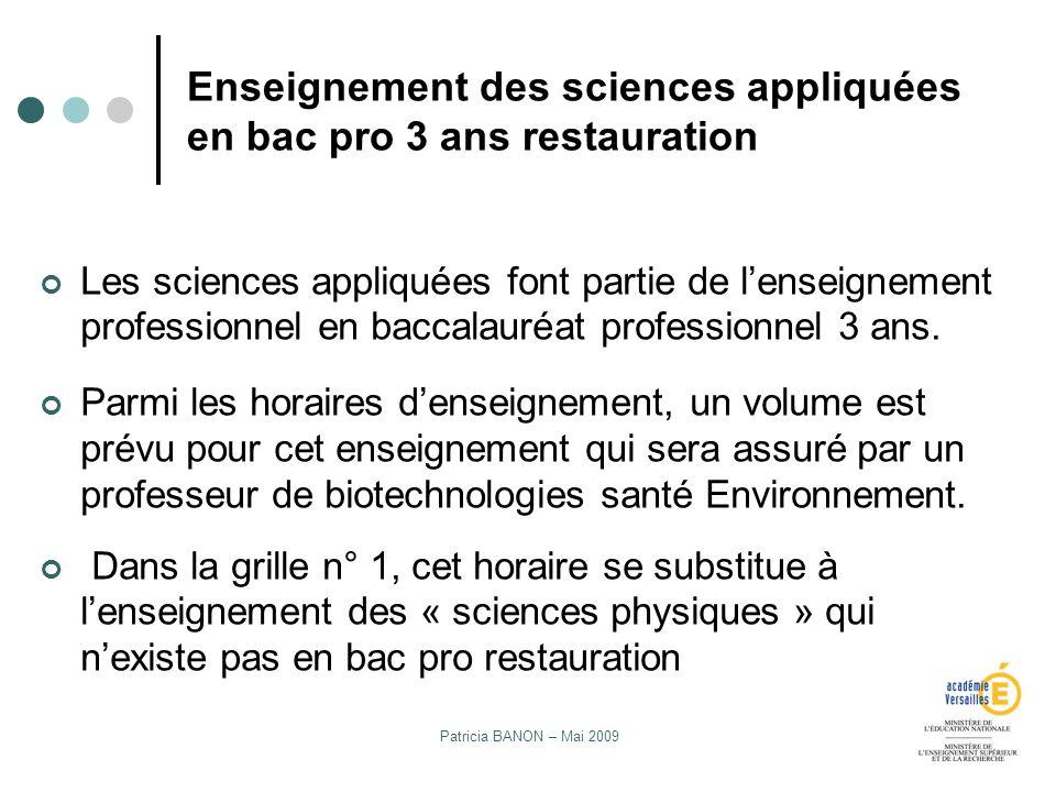 Patricia BANON – Mai 2009 Enseignement des sciences appliquées en bac pro 3 ans restauration Les sciences appliquées font partie de lenseignement prof