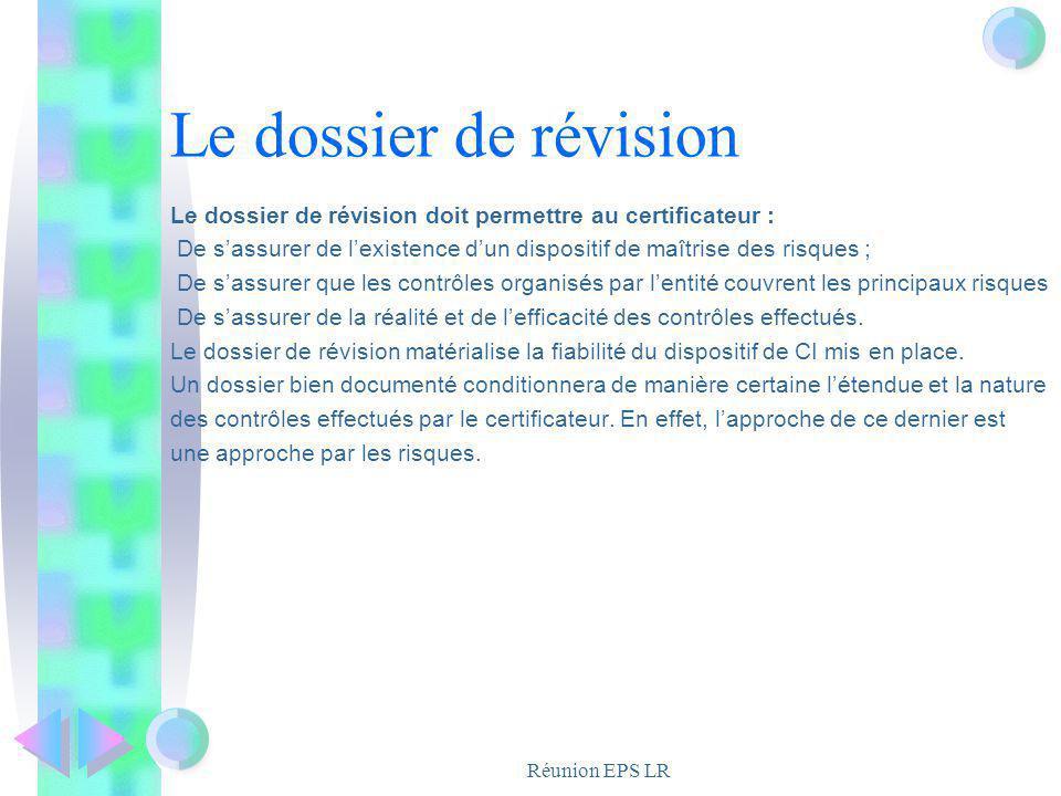 Réunion EPS LR Le dossier de révision Le dossier de révision doit permettre au certificateur : De sassurer de lexistence dun dispositif de maîtrise de