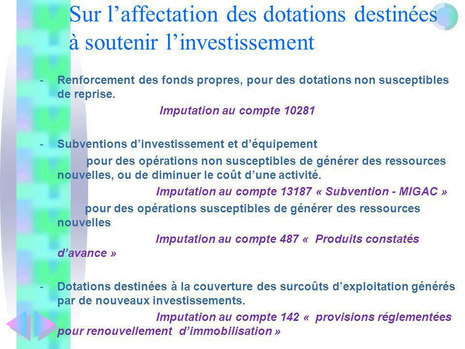 Sur laffectation des dotations destinées à soutenir linvestissement -Renforcement des fonds propres, pour des dotations non susceptibles de reprise. I