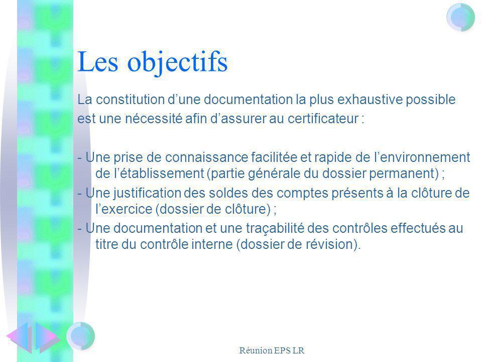 Réunion EPS LR Les objectifs La constitution dune documentation la plus exhaustive possible est une nécessité afin dassurer au certificateur : - Une p