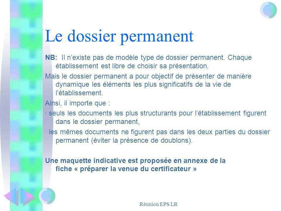 Réunion EPS LR Le dossier permanent NB: Il nexiste pas de modèle type de dossier permanent. Chaque établissement est libre de choisir sa présentation.