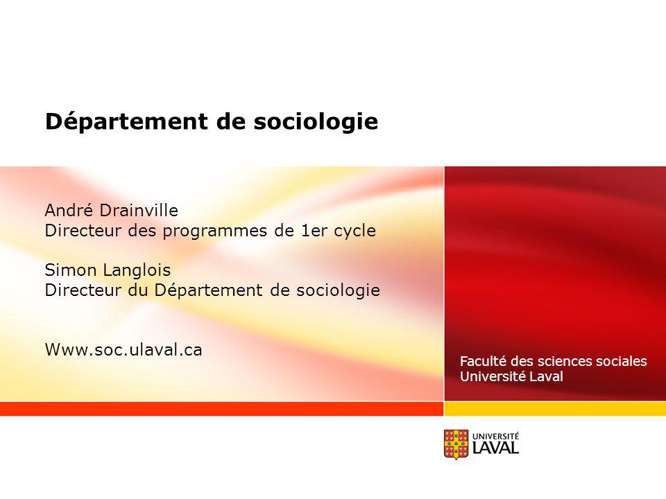 Département de sociologie faculté des sciences sociales université