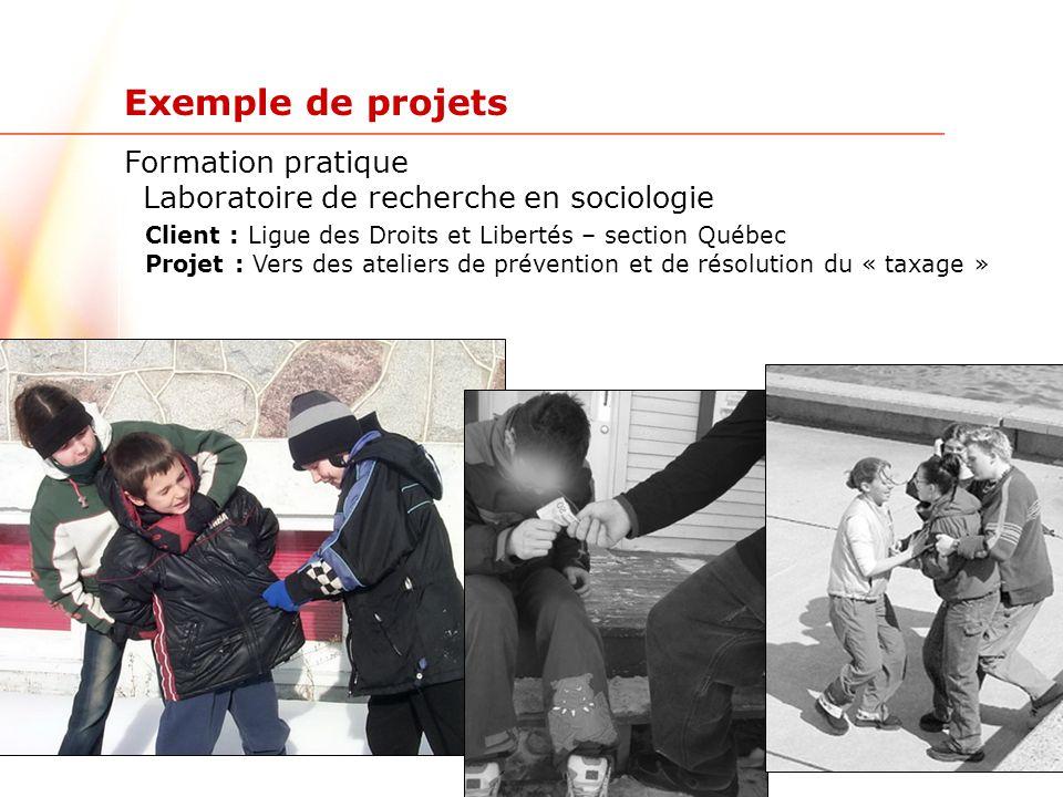 www.ulaval.ca 5 Exemple de projets Formation pratique Laboratoire de recherche en sociologie Client : Direction de la santé publique de Montréal Projet : Habitudes de jeu chez les joueurs de poker de 16 à 25 ans