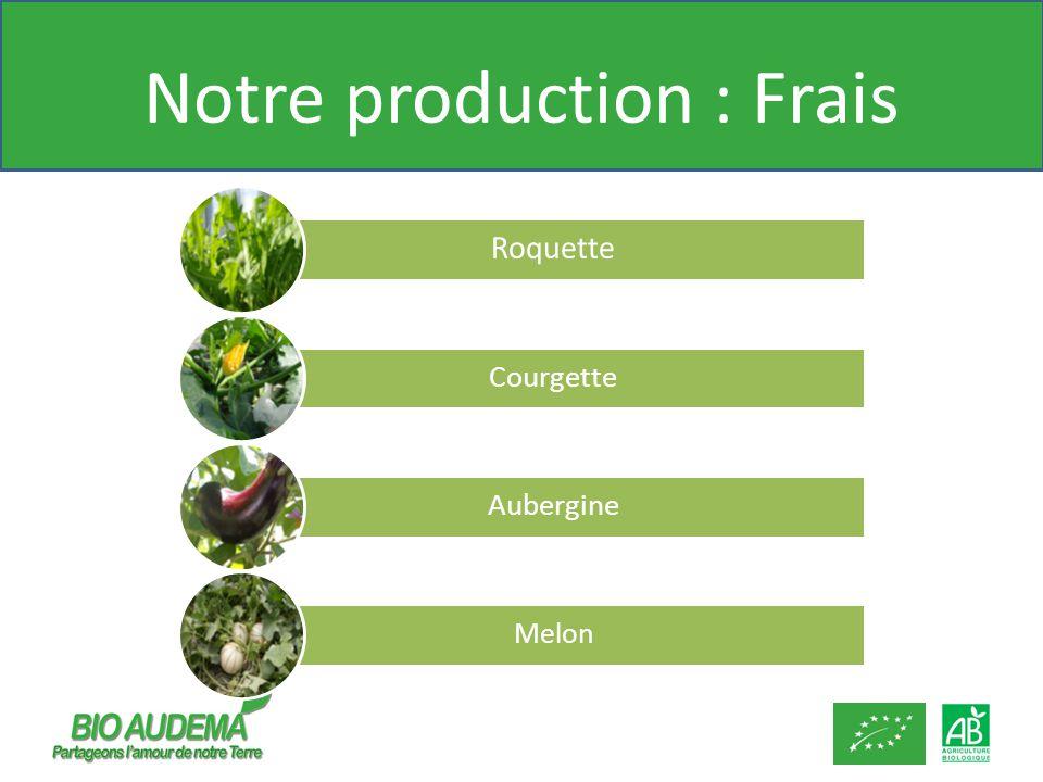 Notre production : Frais Roquette Courgette Aubergine Melon