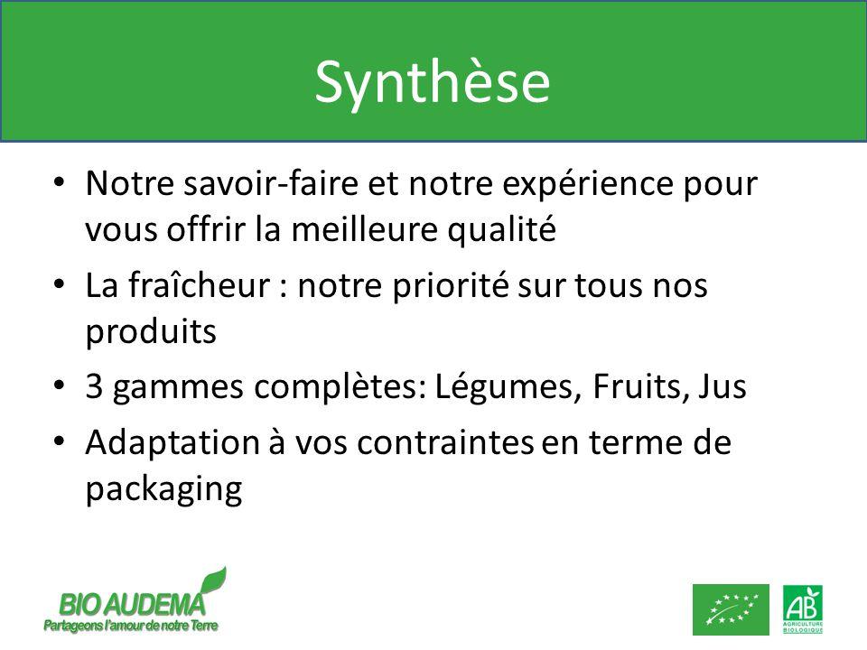 Synthèse Notre savoir-faire et notre expérience pour vous offrir la meilleure qualité La fraîcheur : notre priorité sur tous nos produits 3 gammes complètes: Légumes, Fruits, Jus Adaptation à vos contraintes en terme de packaging