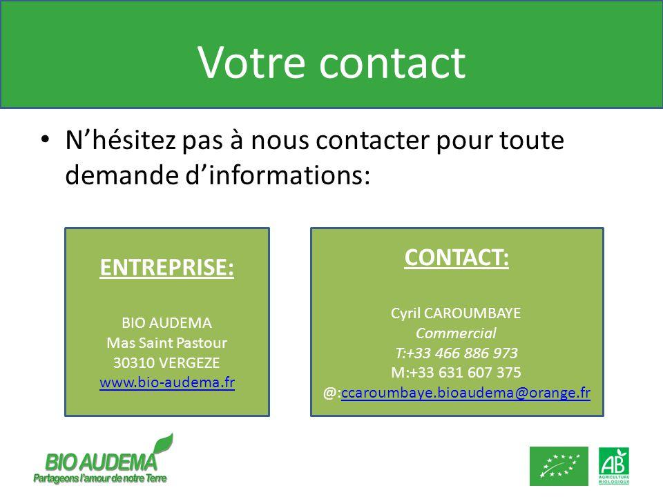 Votre contact Nhésitez pas à nous contacter pour toute demande dinformations: ENTREPRISE: BIO AUDEMA Mas Saint Pastour 30310 VERGEZE www.bio-audema.fr CONTACT: Cyril CAROUMBAYE Commercial T:+33 466 886 973 M:+33 631 607 375 @:ccaroumbaye.bioaudema@orange.frccaroumbaye.bioaudema@orange.fr