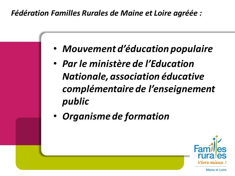 Mouvement déducation populaire Par le ministère de lEducation Nationale, association éducative complémentaire de lenseignement public Organisme de formation Fédération Familles Rurales de Maine et Loire agréée :