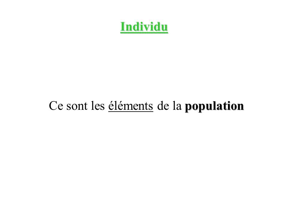 Individu population Ce sont les éléments de la population