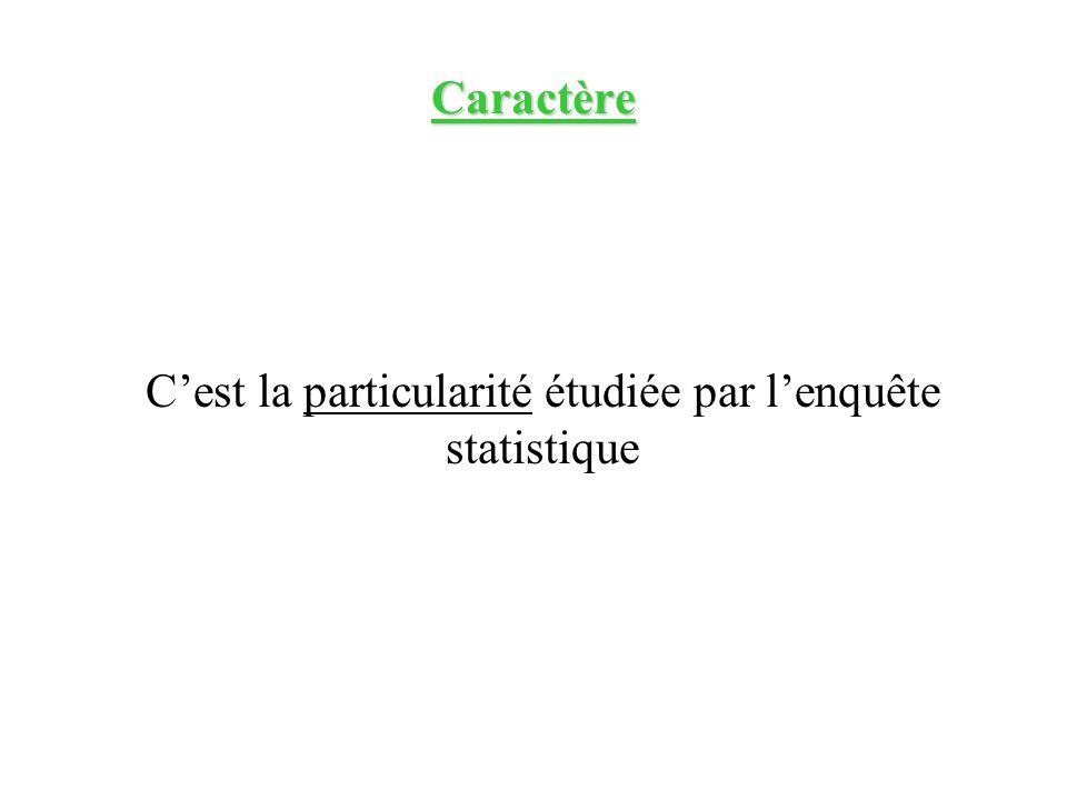 Caractère Cest la particularité étudiée par lenquête statistique