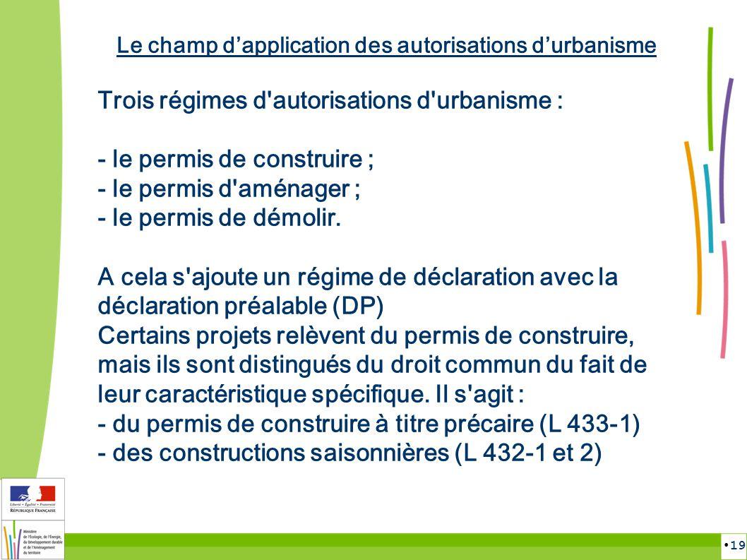 19 Le champ dapplication des autorisations durbanisme Trois régimes d'autorisations d'urbanisme : - le permis de construire ; - le permis d'aménager ;