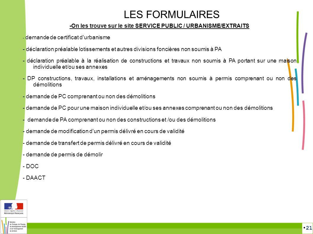 21 LES FORMULAIRES -On les trouve sur le site SERVICE PUBLIC / URBANISME/EXTRAITS - demande de certificat d'urbanisme - déclaration préalable lotissem