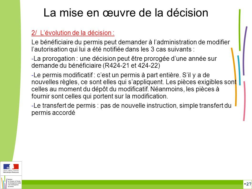 27 La mise en œuvre de la décision 2/ Lévolution de la décision : Le bénéficiaire du permis peut demander à ladministration de modifier lautorisation