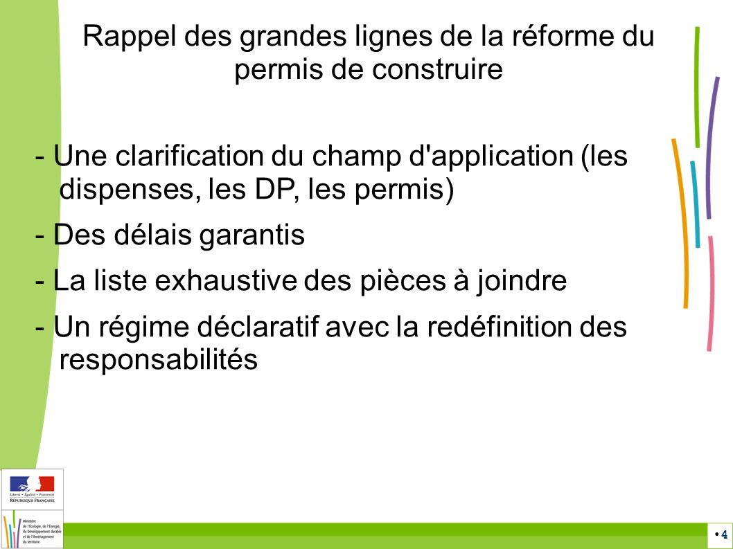 4 Rappel des grandes lignes de la réforme du permis de construire - Une clarification du champ d'application (les dispenses, les DP, les permis) - Des