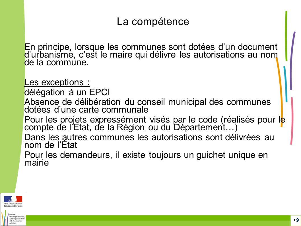 9 En principe, lorsque les communes sont dotées dun document durbanisme, cest le maire qui délivre les autorisations au nom de la commune. Les excepti