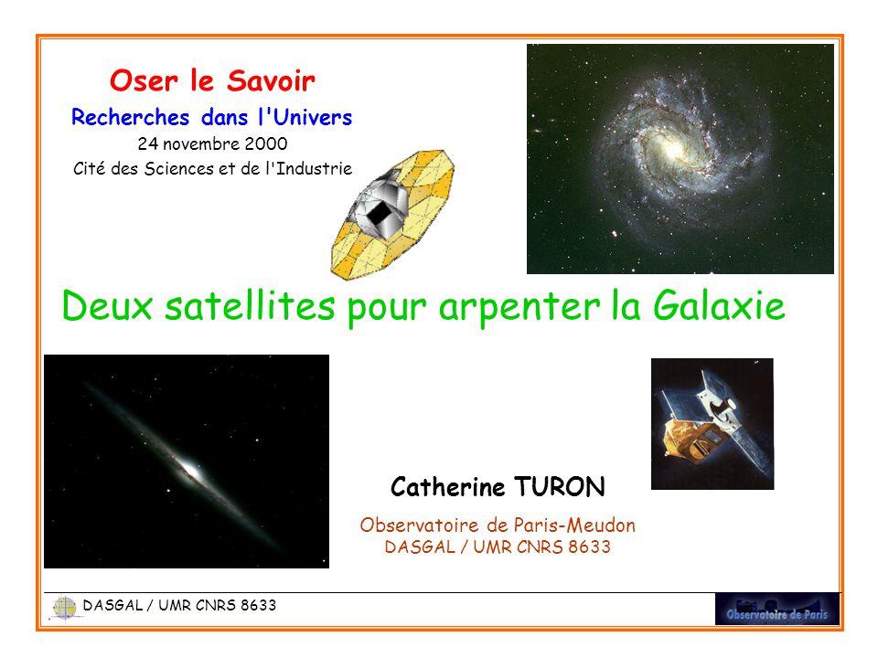 Catherine TURON Observatoire de Paris-Meudon DASGAL / UMR CNRS 8633 Oser le Savoir Recherches dans l Univers 24 novembre 2000 Cité des Sciences et de l Industrie Deux satellites pour arpenter la Galaxie DASGAL / UMR CNRS 8633