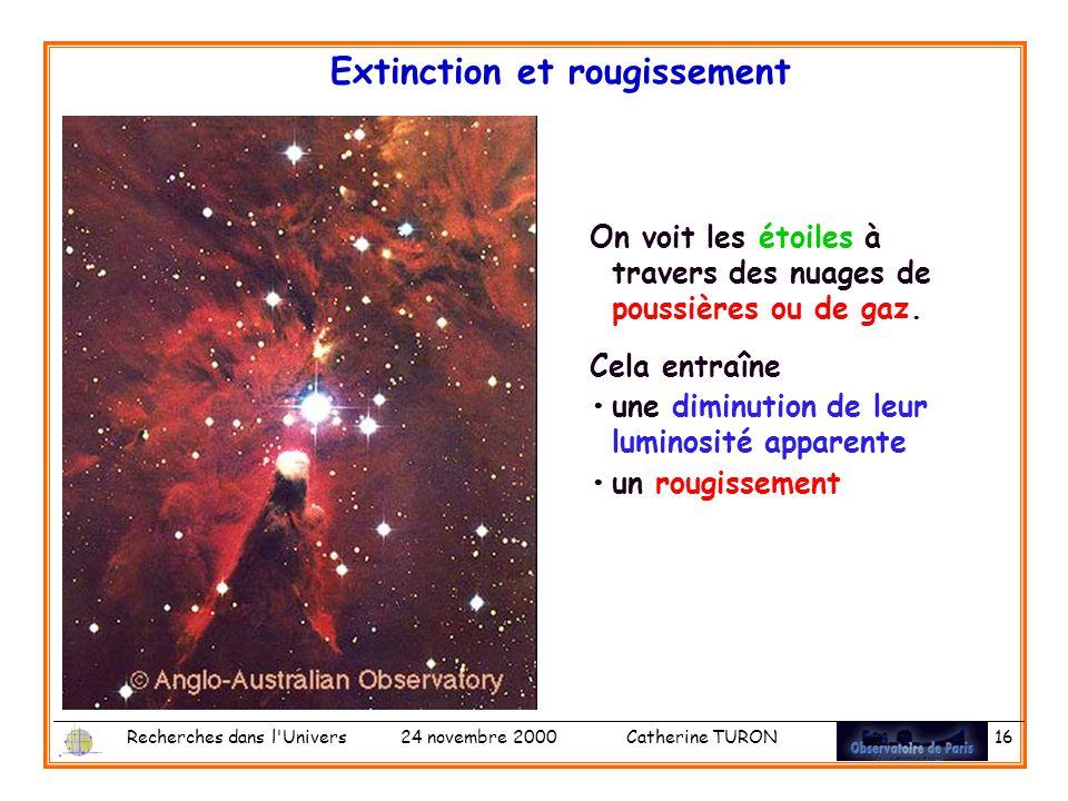 Recherches dans l Univers 24 novembre 2000 Catherine TURON 16 Extinction et rougissement On voit les étoiles à travers des nuages de poussières ou de gaz.