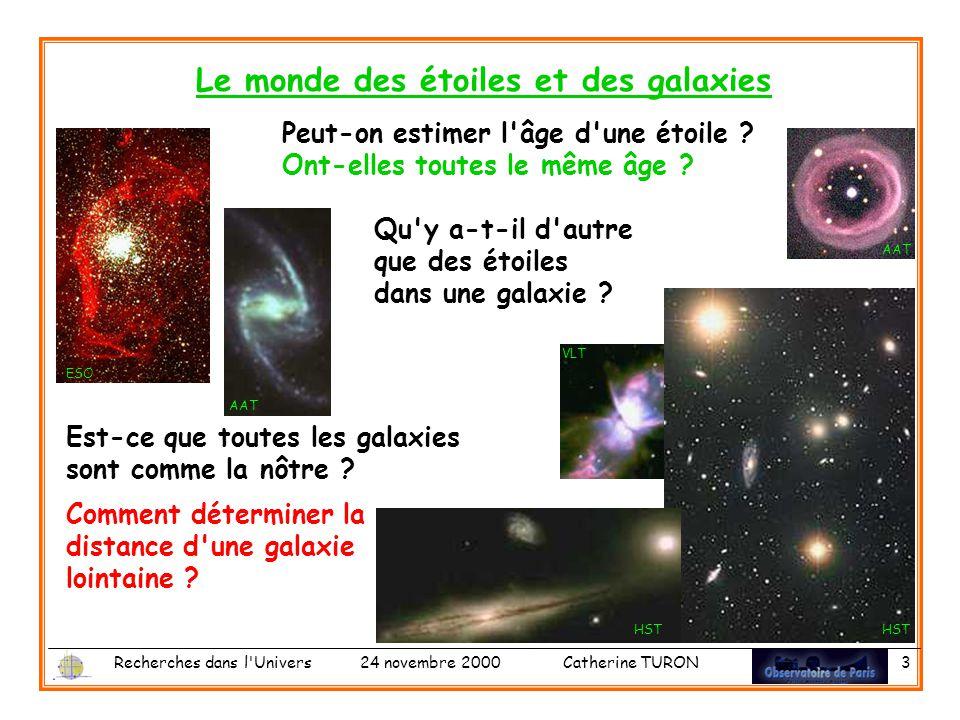 Recherches dans l Univers 24 novembre 2000 Catherine TURON 3 Le monde des étoiles et des galaxies Est-ce que toutes les galaxies sont comme la nôtre .