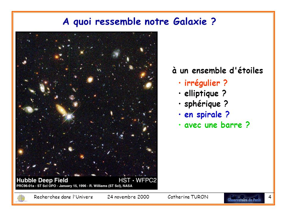 Recherches dans l Univers 24 novembre 2000 Catherine TURON 4 à un ensemble d étoiles irrégulier .