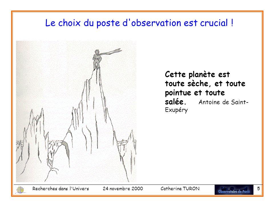 Recherches dans l Univers 24 novembre 2000 Catherine TURON 5 Le choix du poste d observation est crucial .