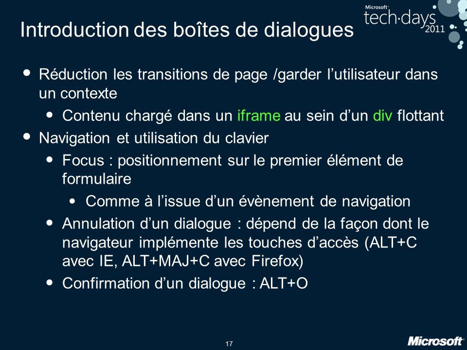 17 Introduction des boîtes de dialogues Réduction les transitions de page /garder lutilisateur dans un contexte Contenu chargé dans un iframe au sein