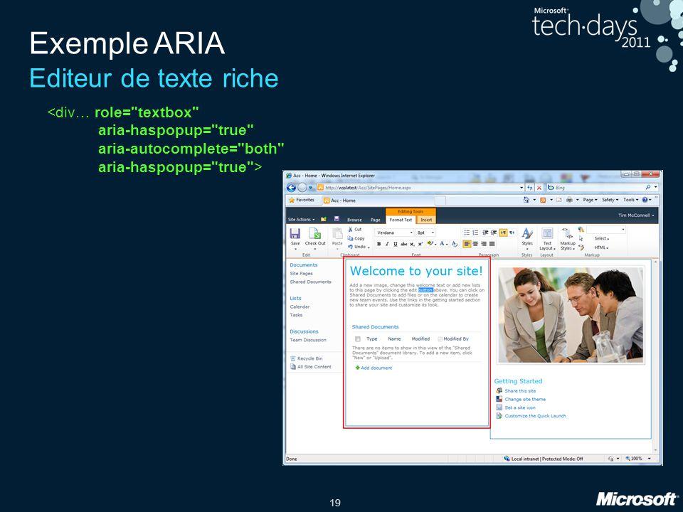 19 Exemple ARIA Editeur de texte riche <div… role=