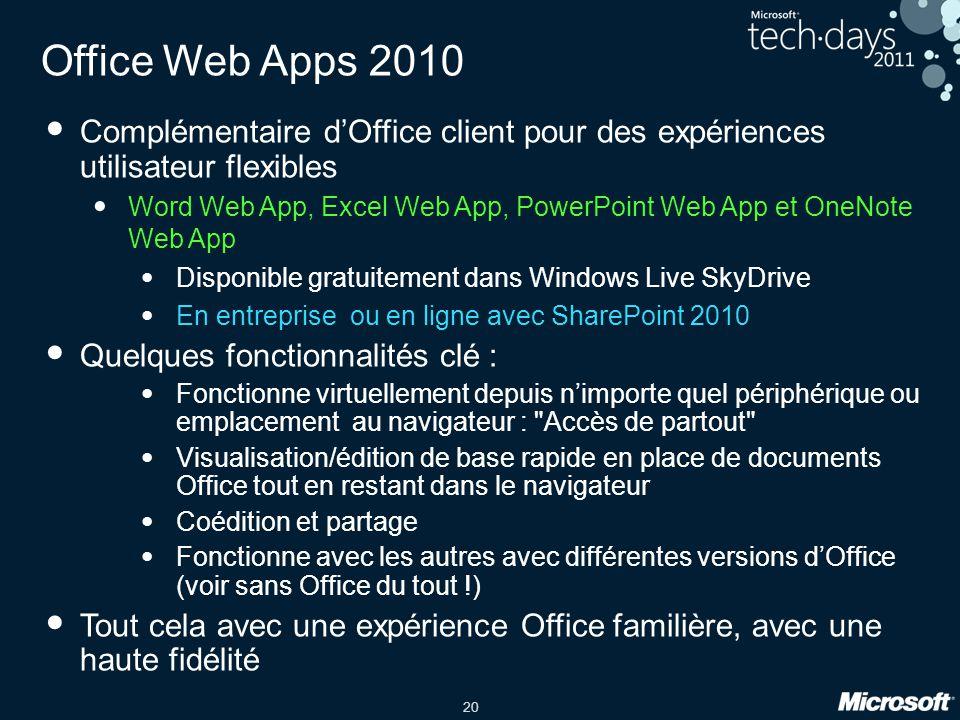 20 Office Web Apps 2010 Complémentaire dOffice client pour des expériences utilisateur flexibles Word Web App, Excel Web App, PowerPoint Web App et On