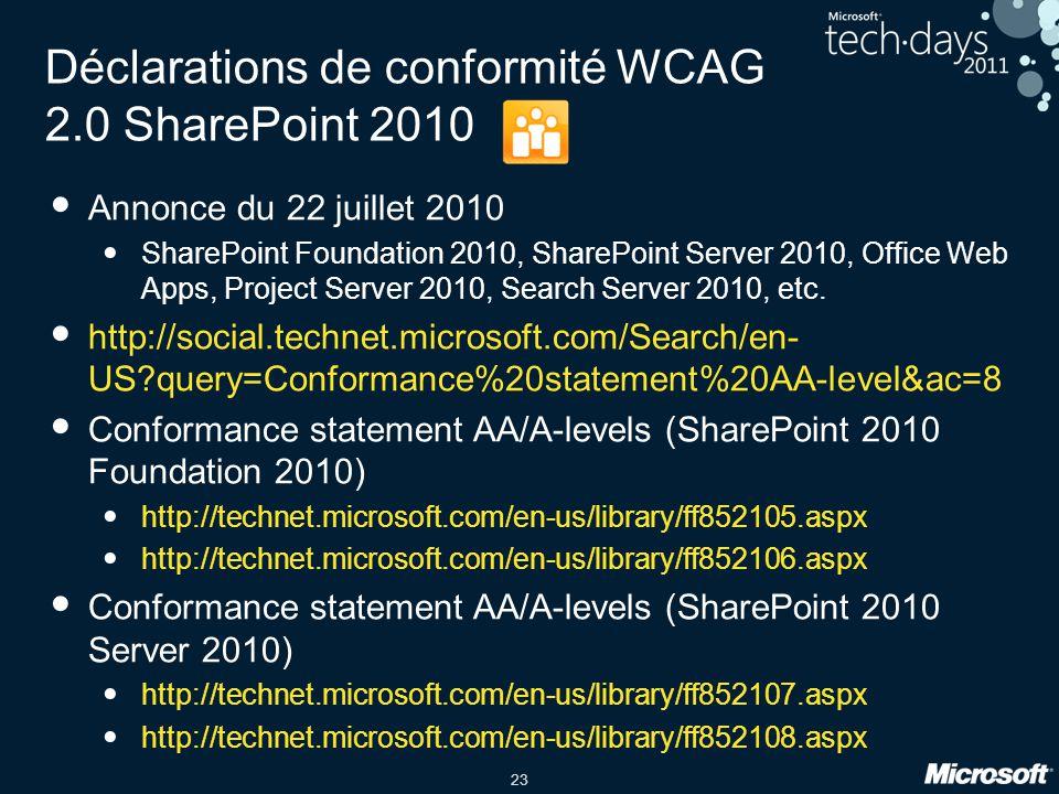 23 Déclarations de conformité WCAG 2.0 SharePoint 2010 Annonce du 22 juillet 2010 SharePoint Foundation 2010, SharePoint Server 2010, Office Web Apps,