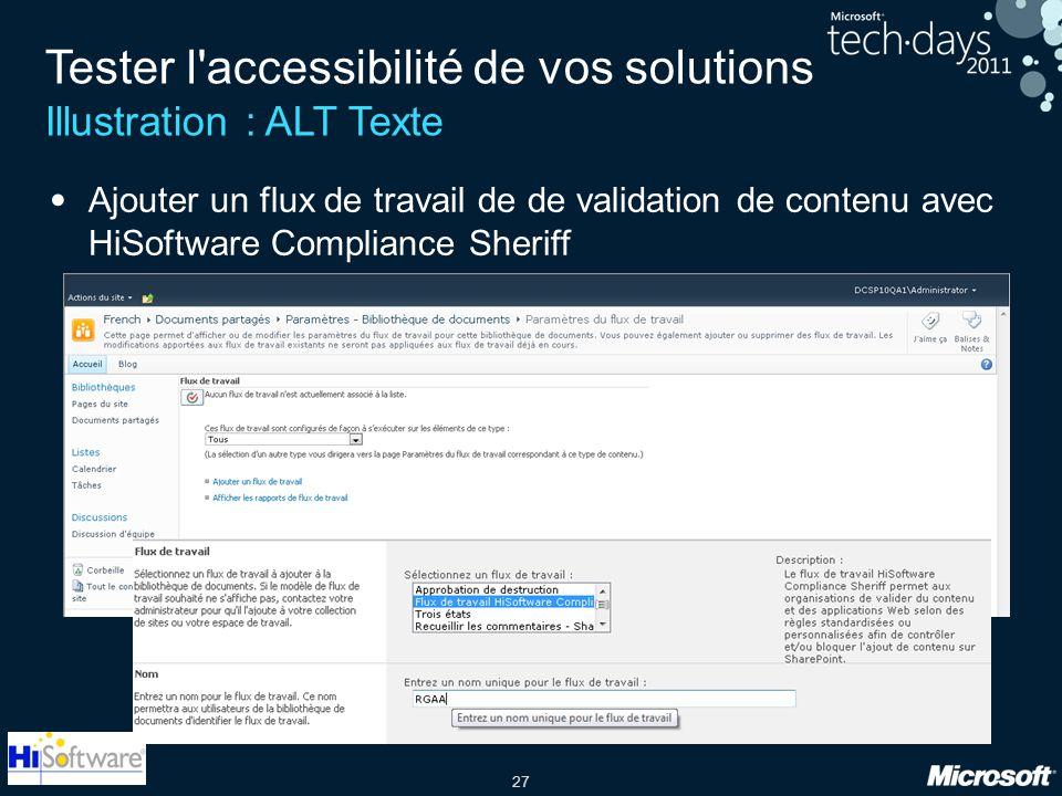 27 Tester l'accessibilité de vos solutions Illustration : ALT Texte Ajouter un flux de travail de de validation de contenu avec HiSoftware Compliance