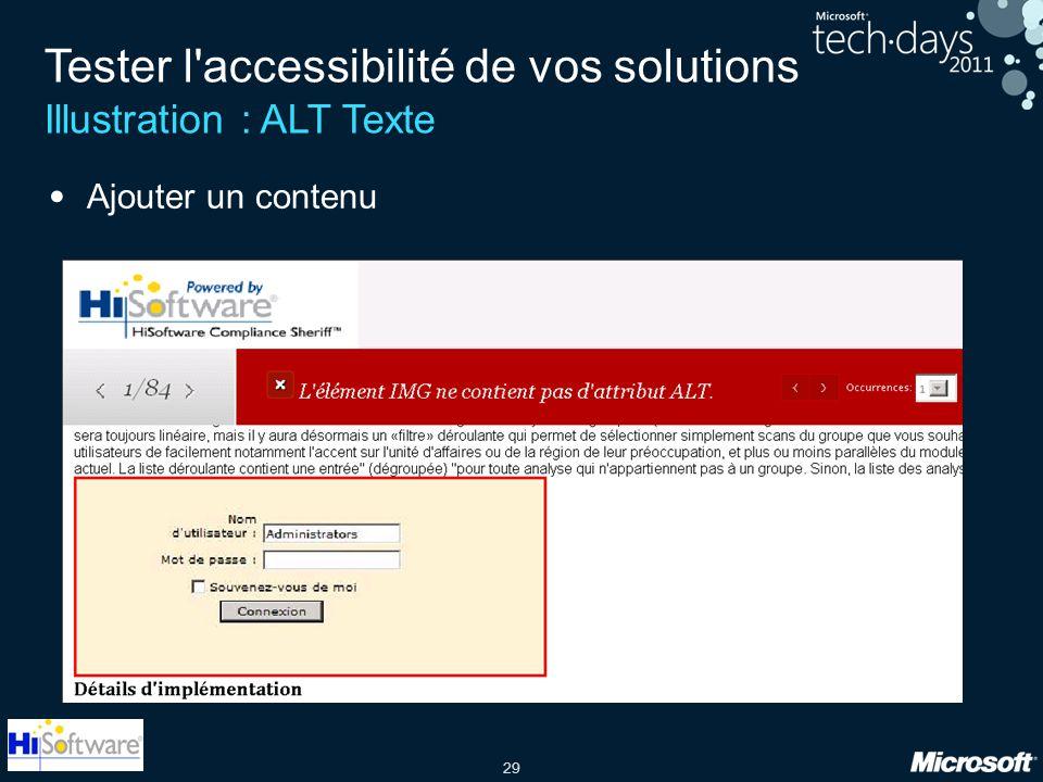 29 Tester l'accessibilité de vos solutions Illustration : ALT Texte Ajouter un contenu