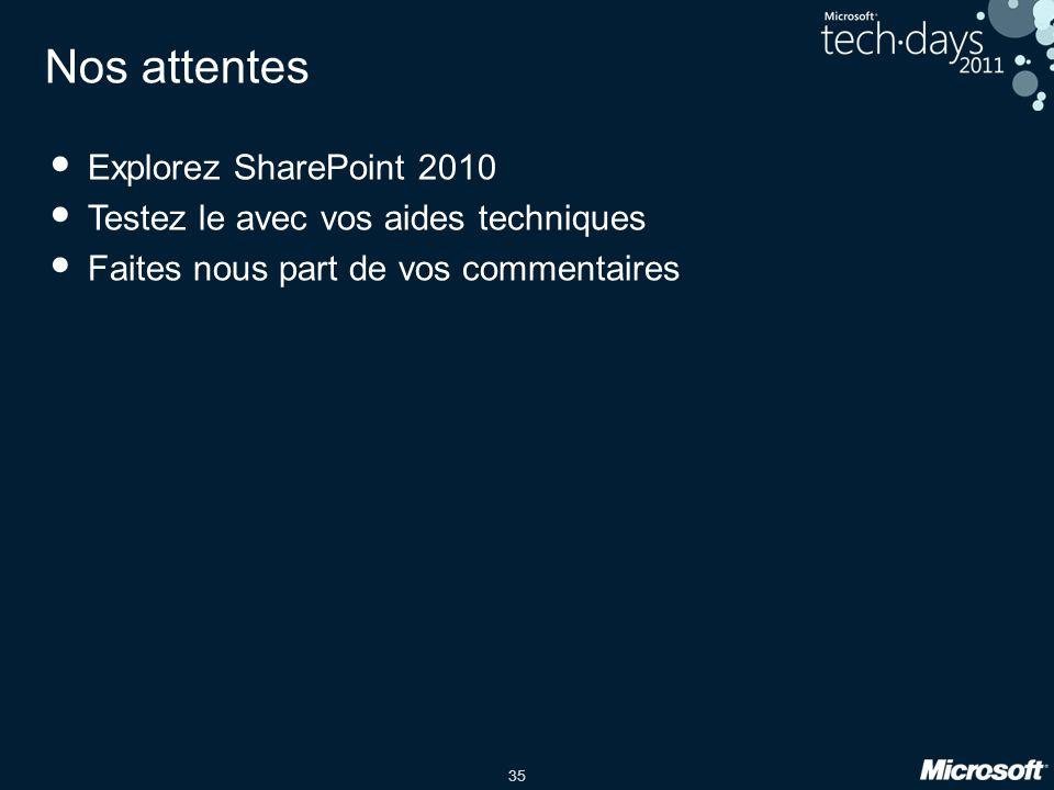 35 Nos attentes Explorez SharePoint 2010 Testez le avec vos aides techniques Faites nous part de vos commentaires