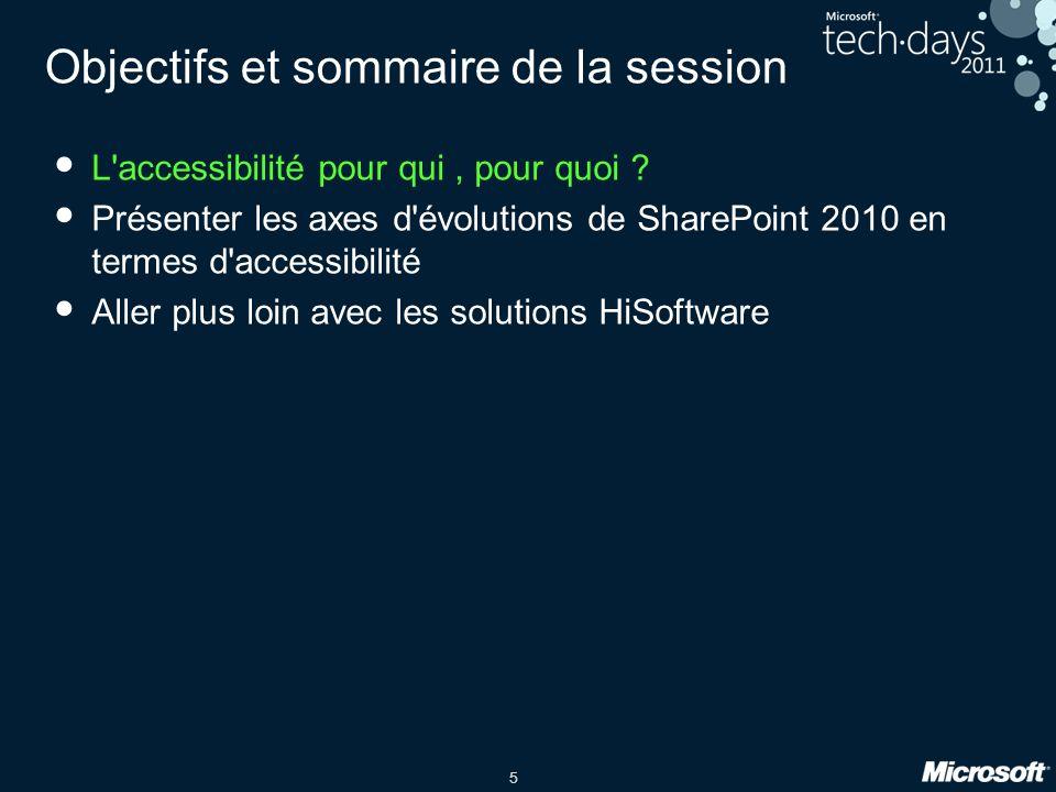 5 Objectifs et sommaire de la session L'accessibilité pour qui, pour quoi ? Présenter les axes d'évolutions de SharePoint 2010 en termes d'accessibili