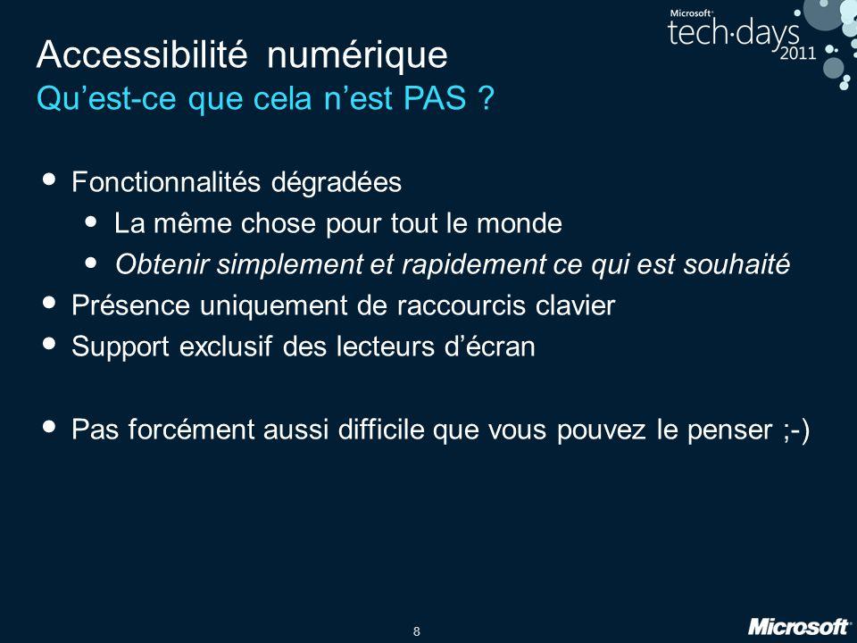 8 Accessibilité numérique Quest-ce que cela nest PAS ? Fonctionnalités dégradées La même chose pour tout le monde Obtenir simplement et rapidement ce