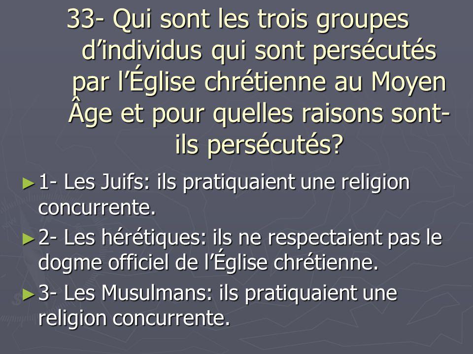 33- Qui sont les trois groupes dindividus qui sont persécutés par lÉglise chrétienne au Moyen Âge et pour quelles raisons sont- ils persécutés? 1- Les