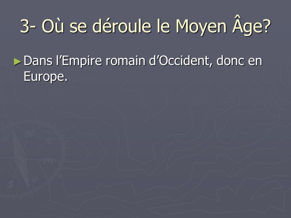 3- Où se déroule le Moyen Âge? Dans lEmpire romain dOccident, donc en Europe. Dans lEmpire romain dOccident, donc en Europe.