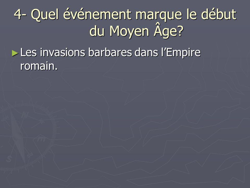 4- Quel événement marque le début du Moyen Âge? Les invasions barbares dans lEmpire romain. Les invasions barbares dans lEmpire romain.