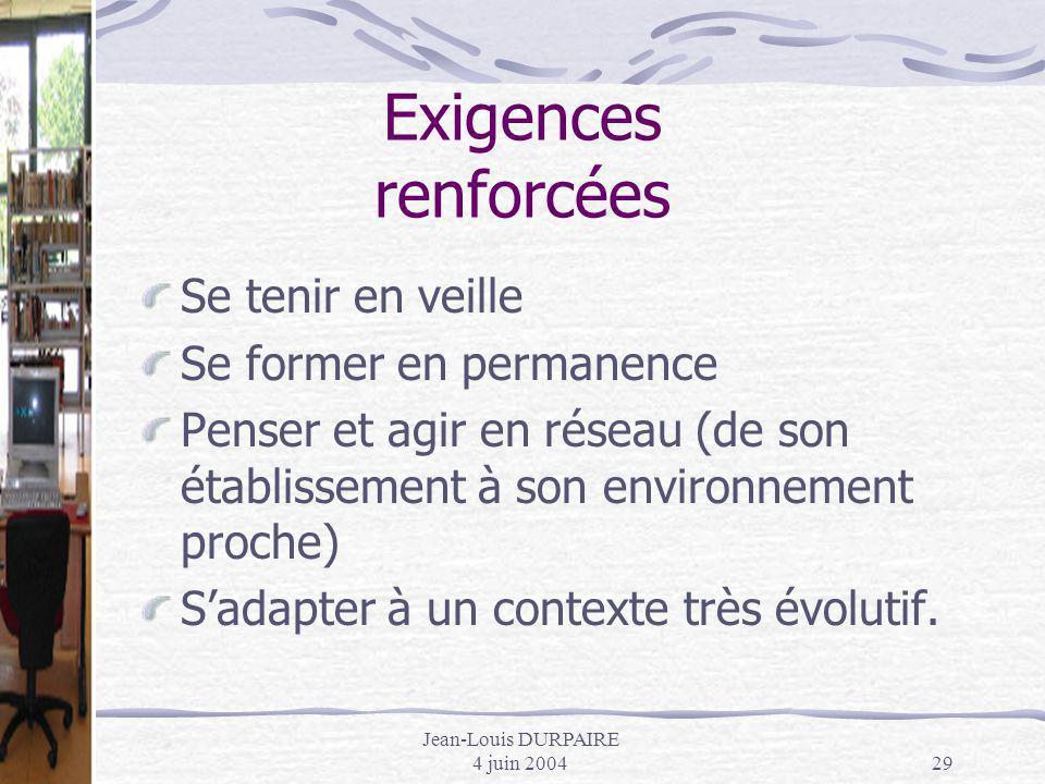 Jean-Louis DURPAIRE 4 juin 200429 Exigences renforcées Se tenir en veille Se former en permanence Penser et agir en réseau (de son établissement à son