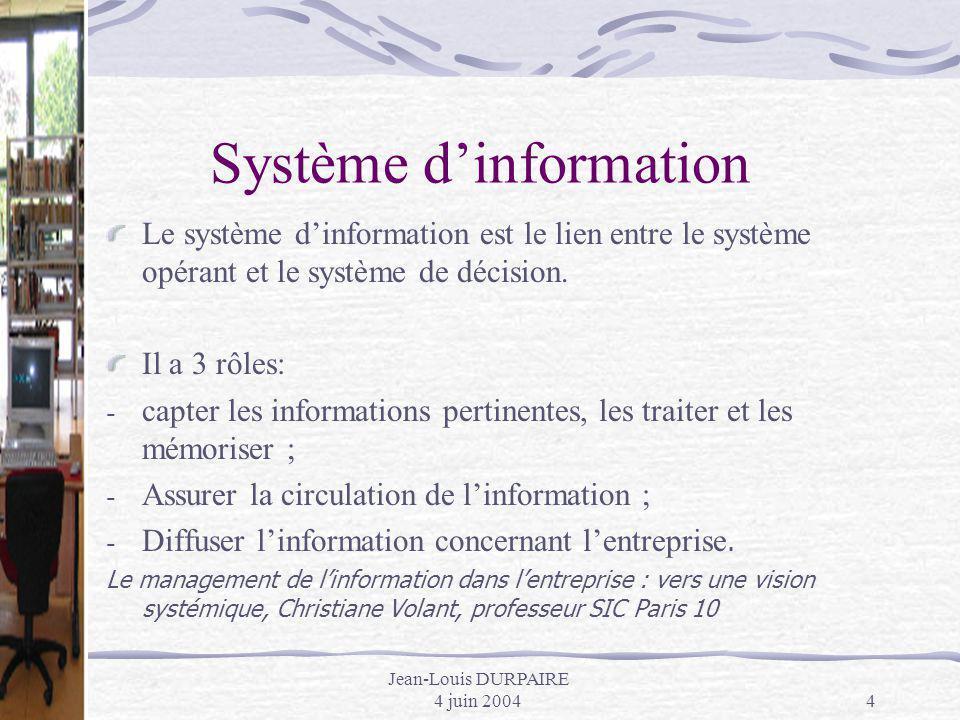 Jean-Louis DURPAIRE 4 juin 20044 Système dinformation Le système dinformation est le lien entre le système opérant et le système de décision. Il a 3 r