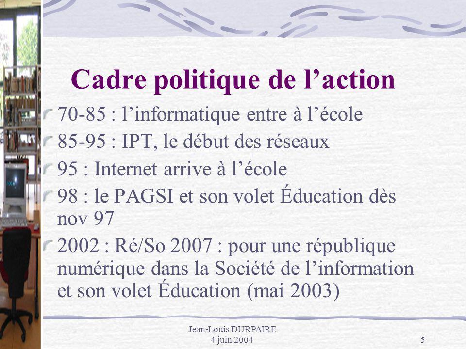 Jean-Louis DURPAIRE 4 juin 20045 Cadre politique de laction 70-85 : linformatique entre à lécole 85-95 : IPT, le début des réseaux 95 : Internet arriv