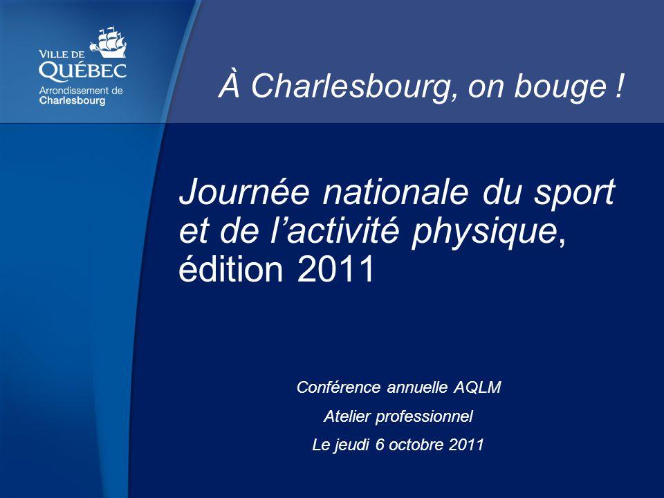 Journée nationale du sport et de lactivité physique, édition 2011 Conférence annuelle AQLM Atelier professionnel Le jeudi 6 octobre 2011 À Charlesbourg, on bouge !