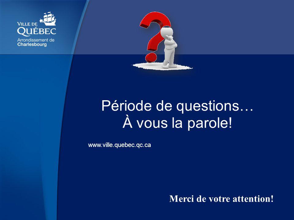 www.ville.quebec.qc.ca Période de questions… À vous la parole! Merci de votre attention!