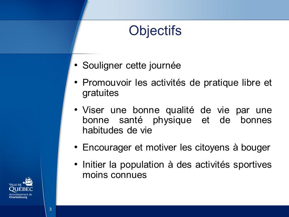 3 Objectifs Souligner cette journée Promouvoir les activités de pratique libre et gratuites Viser une bonne qualité de vie par une bonne santé physique et de bonnes habitudes de vie Encourager et motiver les citoyens à bouger Initier la population à des activités sportives moins connues