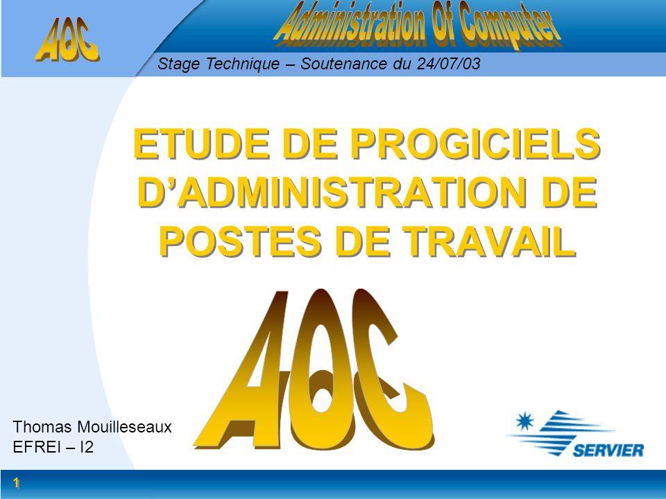 1 1 ETUDE DE PROGICIELS DADMINISTRATION DE POSTES DE TRAVAIL Thomas Mouilleseaux EFREI – I2 Stage Technique – Soutenance du 24/07/03