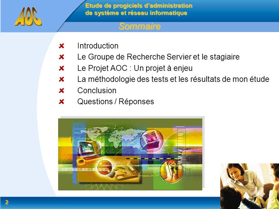 2 2 Introduction Le Groupe de Recherche Servier et le stagiaire Le Projet AOC : Un projet à enjeu La méthodologie des tests et les résultats de mon ét