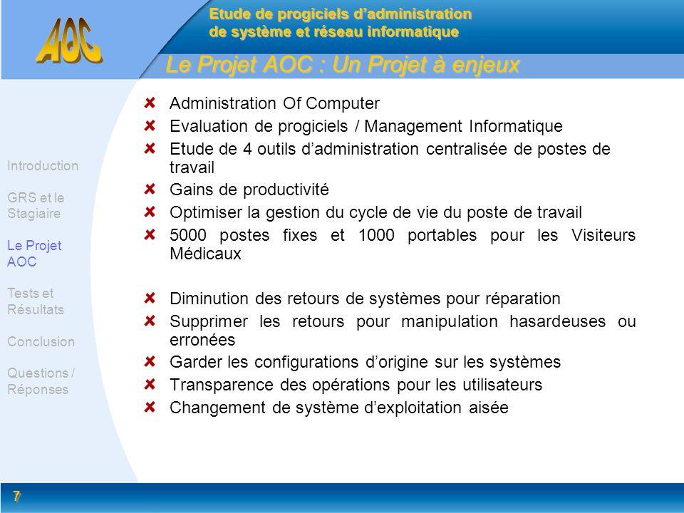 7 7 Le Projet AOC : Un Projet à enjeux Administration Of Computer Evaluation de progiciels / Management Informatique Etude de 4 outils dadministration