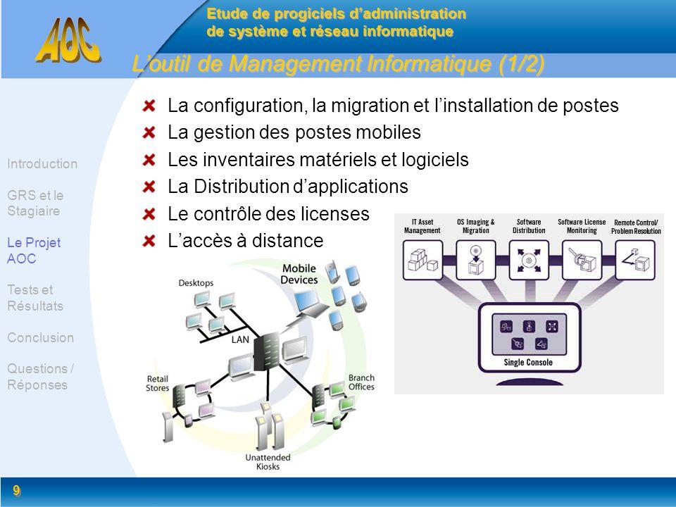 9 9 Loutil de Management Informatique (1/2) La configuration, la migration et linstallation de postes La gestion des postes mobiles Les inventaires ma