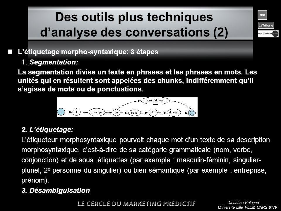 Christine Balagué Université Lille 1-LEM CNRS 8179 Des outils plus techniques danalyse des conversations (2) nLétiquetage morpho-syntaxique: 3 étapes 1.