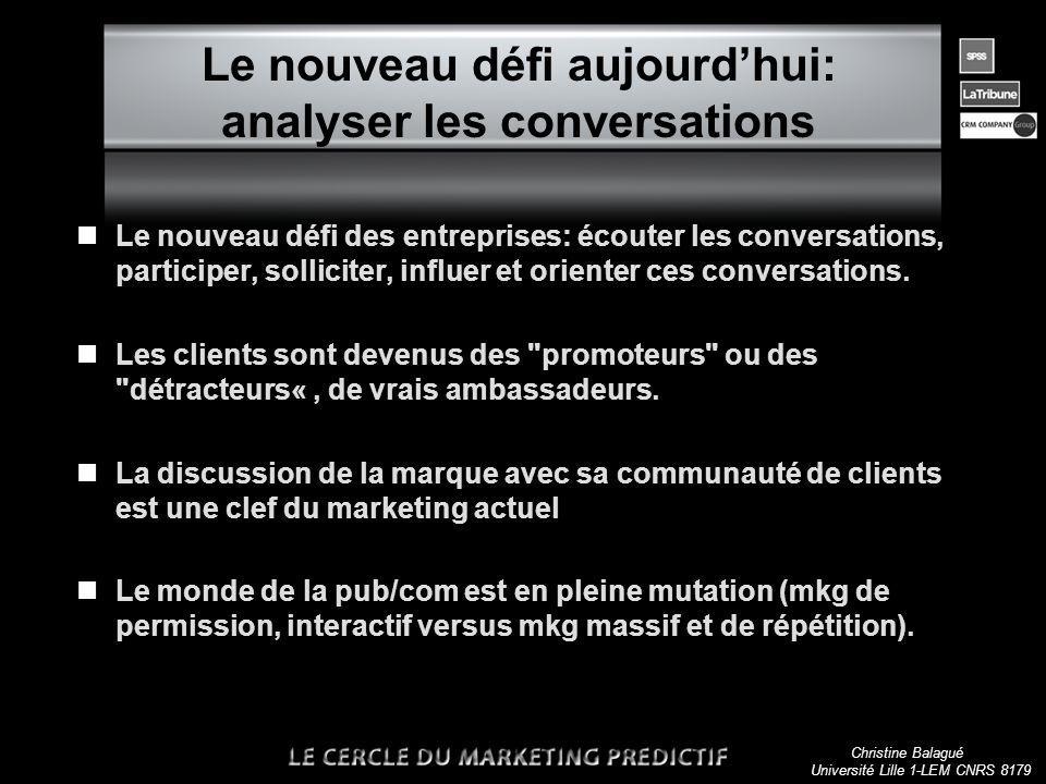 Christine Balagué Université Lille 1-LEM CNRS 8179 Le nouveau défi aujourdhui: analyser les conversations nLe nouveau défi des entreprises: écouter les conversations, participer, solliciter, influer et orienter ces conversations.